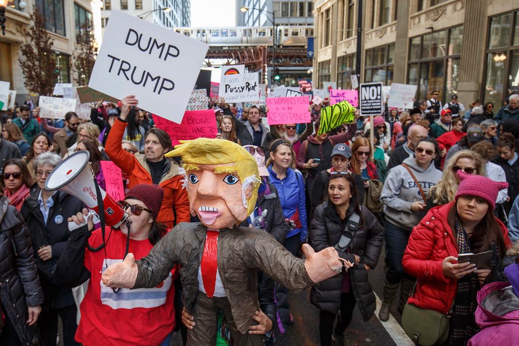 . CHICAGO, IL - JANUARY 21: Protesters participate in the Women\'s March on January 21, 2017 in Chicago, Illinois. Thousands of demonstrators took to the streets in protest after the inauguration of President Donald Trump. (Photo by John Gress/Getty Images)