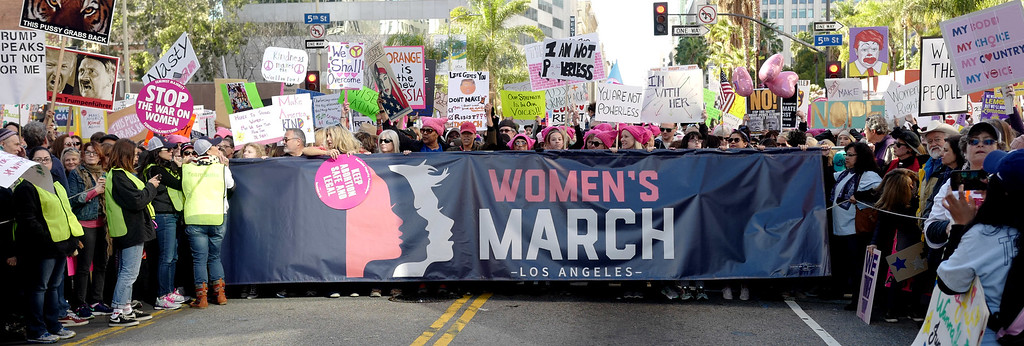 . Women\'s March Los Angeles, a national movement to unify and empower everyone who stands for women�s rights, human rights, civil liberties, and social justice for all, the march begun at Pershing Square  and marched along Hill and Broadway to City hall on Saturday, Jan. 21, 2017 in Los Angeles. (Photo by Keith Birmingham, Pasadena Star-News/SCNG)