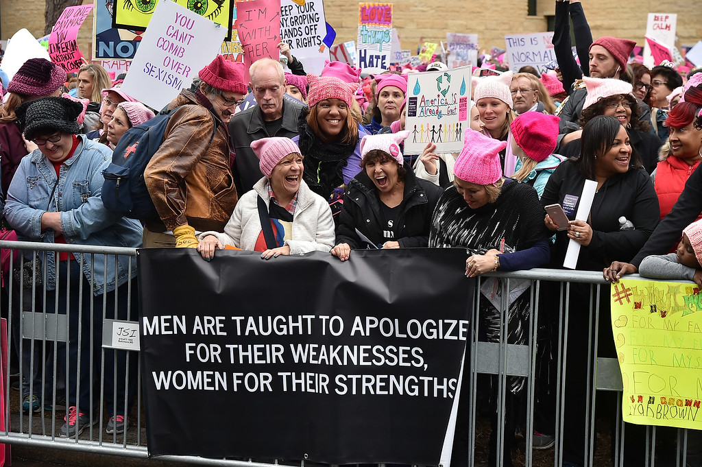 . WASHINGTON, DC - JANUARY 21:  A view of rally attendees during the Women\'s March on Washington on January 21, 2017 in Washington, DC.  (Photo by Theo Wargo/Getty Images)