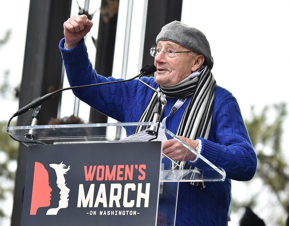 . WASHINGTON, DC - JANUARY 21:  Charlie Brotman speaks onstage during the Women\'s March on Washington on January 21, 2017 in Washington, DC.  (Photo by Theo Wargo/Getty Images)