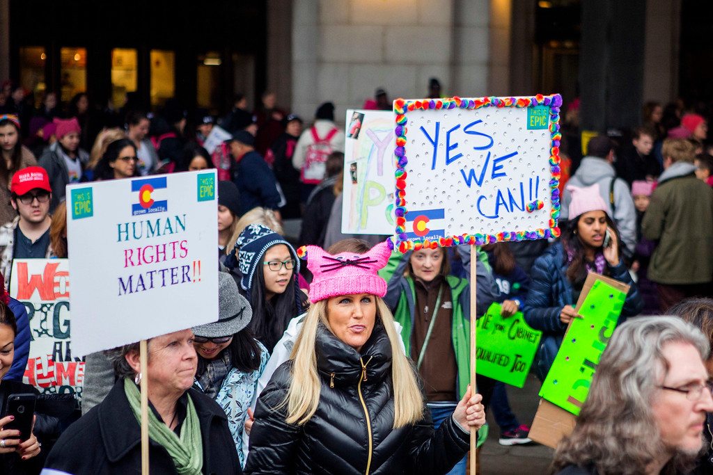 . WASHINGTON, DC - JANUARY 21: Demonstrators arrive at Union Station for the Women\'s March on Washington on January 21, 2017 in Washington, DC. Yesterday Donald Trump became the 45th president of the United States. The Womens March originated in Washington DC but soon spread to be a global march calling on all concerned citizens to stand up for equality, diversity and inclusion and for womens rights to be recognised around the world as human rights. Global marches are now being held, on the same day, across seven continents. (Photo by Jessica Kourkounis/Getty Images)