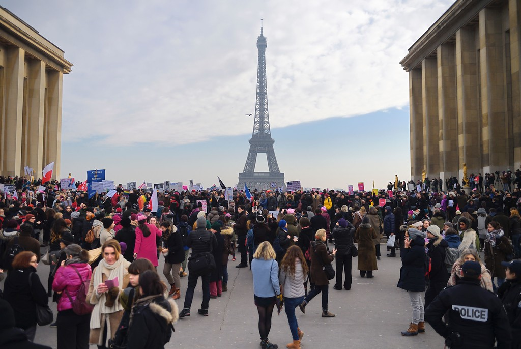 . Demonstrators gather at the Place de Trocadero in Paris during a rally in solidarity with supporters of the Women\'s March in Washington and many other cities on January 21, 2017, one day after the inauguration of the US President Donald Trump. Protest rallies were held in over 30 countries around the world in solidarity with the Washington Women\'s March in defense of press freedom, women\'s and human rights following the official inauguration of Donald J Trump as the 45th President of the United States of America. (ERIC FEFERBERG/AFP/Getty Images)