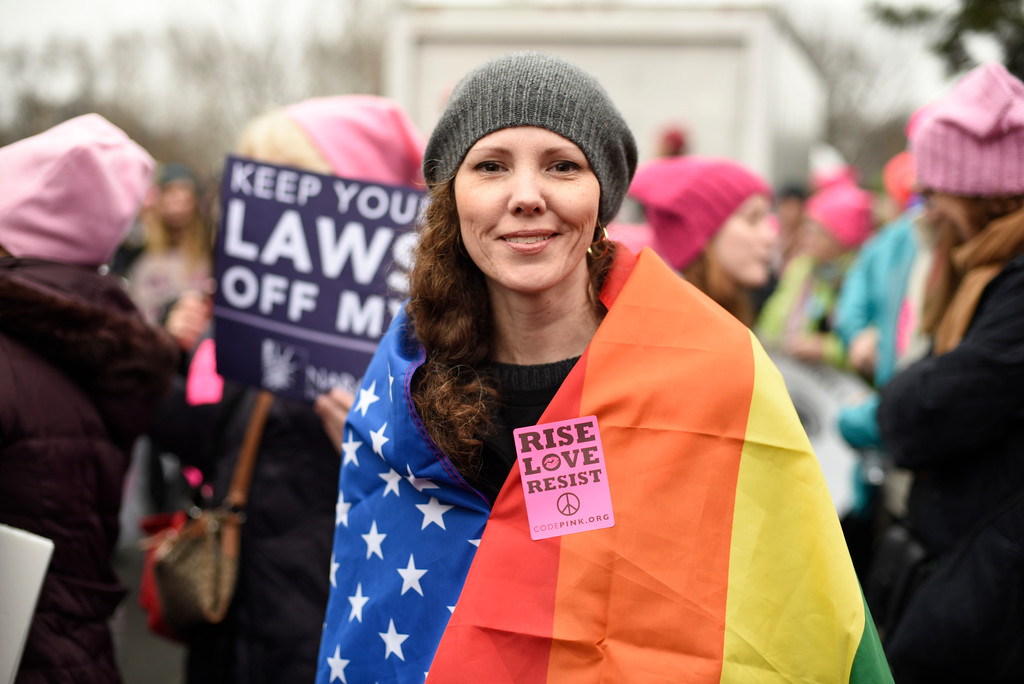 . Nicole Monceaux from New York City, attends the Women\'s March on Washington on Saturday, Jan. 21, 2017 in Washington, on the first full day of Donald Trump\'s presidency.  Thousands are massing on the National Mall for the Women\'s March, and they\'re gathering, too, in spots around the world.  (AP Photo/Sait Serkan Gurbuz)