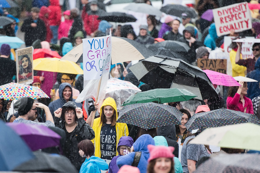 . COLUMBIA, SC - JANUARY 21: Demonstrators participate in the March In Defense Of Women\'s Rights outside of the Music Farm January 21, 2017 in Columbia, South Carolina. The event was one of hundreds of rallies and marches in more than 20 different countries inspired by the Women\'s March in the nation\'s capital. (Photo by Sean Rayford/Getty Images)