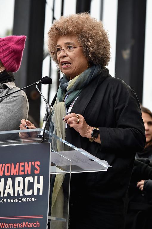 . WASHINGTON, DC - JANUARY 21:  Angela Davis speaks onstage during the Women\'s March on Washington on January 21, 2017 in Washington, DC.  (Photo by Theo Wargo/Getty Images)