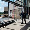Associate Vice President of Facilities Jon Wyman leads a tour of the new student center under construction at Mount Wachusett Community College in Gardner on Wednesday, August 19, 2017. SENTINEL & ENTERPRISE / Ashley Green