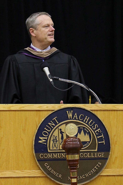 . Mount Wachusett Community College held its fifty-third commencement on Wednesday, May 16, 2018. Gov. Charlie Baker addresses the graduates at the ceremony. SENTINEL & ENTERPRISE/JOHN LOVE