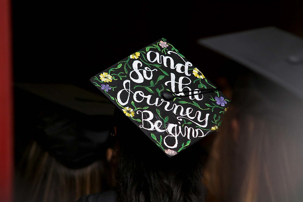 . Mount Wachusett Community College held its fifty-third commencement on Wednesday, May 16, 2018. Many of the graduates mortar boards were decorated for the ceremony. SENTINEL & ENTERPRISE/JOHN LOVE