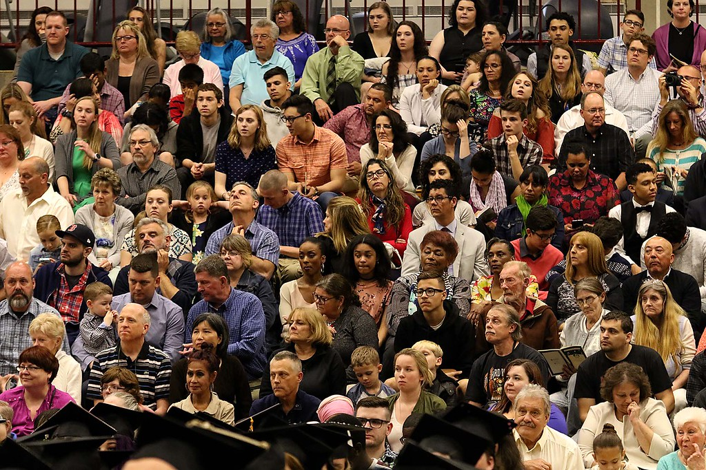. Mount Wachusett Community College held its fifty-third commencement on Wednesday, May 16, 2018. Many friends and family members of the graduates listen to the speakers at the ceremony. SENTINEL & ENTERPRISE/JOHN LOVE