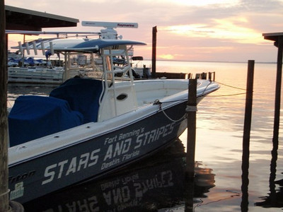 Our two six passenger boats are available year round for fishing charters. Options include bay fishing, near shore state waters, in-shore trolling, seasonal King & Spanish Mackeral and Dolphin (Mahi), deep-sea bottom, and big game fishing. We also offer dolphin sightseeing, harbor tours and a water taxi to Noriega Point, Jetties and the Harbor Walk Village!    Directorate of Family and Morale, Welfare and Recreation photos supplied by Fort Benning's Destin Army Recreation Area. To learn more about Destin, go to http://destin.benningmwr.com/. Submit your Destin photos at http://www.facebook.com/Destin-Army-Recreation-Area. Located just 220 miles south of Fort Benning, Georgia, the Destin Army Recreation covers 15 acres of pristine shoreline along the Choctawhatchee Bay, just minutes from the Gulf of Mexico.