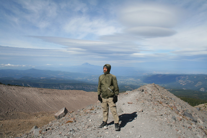 I'M LOOKING UP AT MOUNT HOOD IN NEAR HURRICANE FORCE WINDS AND BELOW FREEZING TEMPS WITH MOUNT ADAMS AS A BACKDROP
