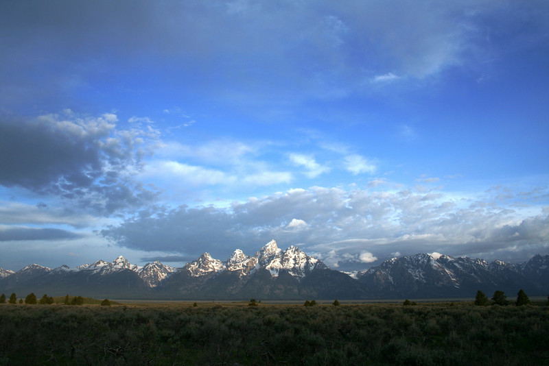 A VIEW OF THE GRAND TETONS FROM ACROSS JACKSON HOLE.