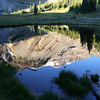 MOUNT RAINIER SUMMIT REFLECTED IN A POND AT MY CAMPSITE IN GLACIER BASIN