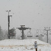 A SNOWSTORM AT THE CLOSED CHAIRLIFT IN SEPTEMBER ON MOUNT HOOD