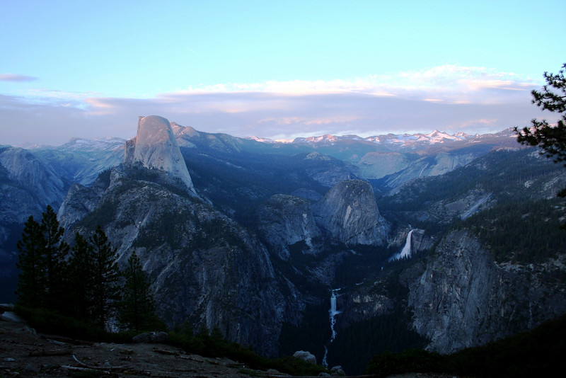 HALF DOME, NEVADA FALLS, AND VERNAL FALLS VIEWED FROM GLACIER POINT AFTER SUNSET.