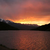 SUNSET ON LAKE DILLON, COLORADO.