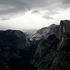 A SNOWSTORM APPROACHING HALFDOME.