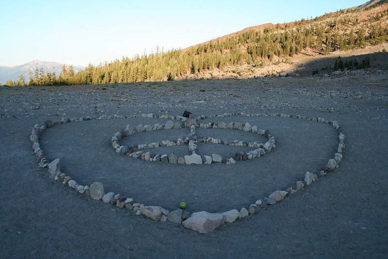 A PEACE & LOVE OFFERING ON MOUNT SHASTA CALIFORNIA-NOTICE THE APPLE