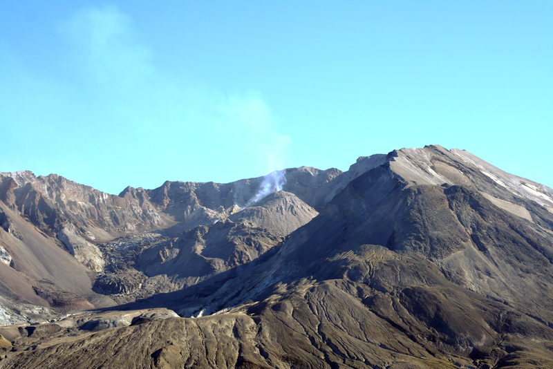 THE NEW CONE RISING AND SPEWING GAS AND ASH IN THE CRATER OF MOUNT SAINT HELENS