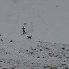 A SNOWBOARDER AND HIS DOGS AT LOVELAND PASS, COLORADO.
