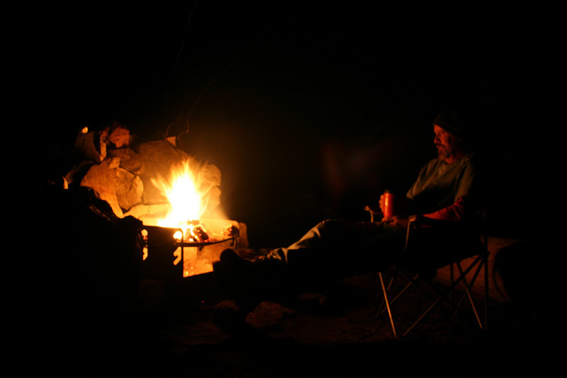 RELAXING BY MY CAMPFIRE AFTER A LONG DAY ON MOUNT SHASTA
