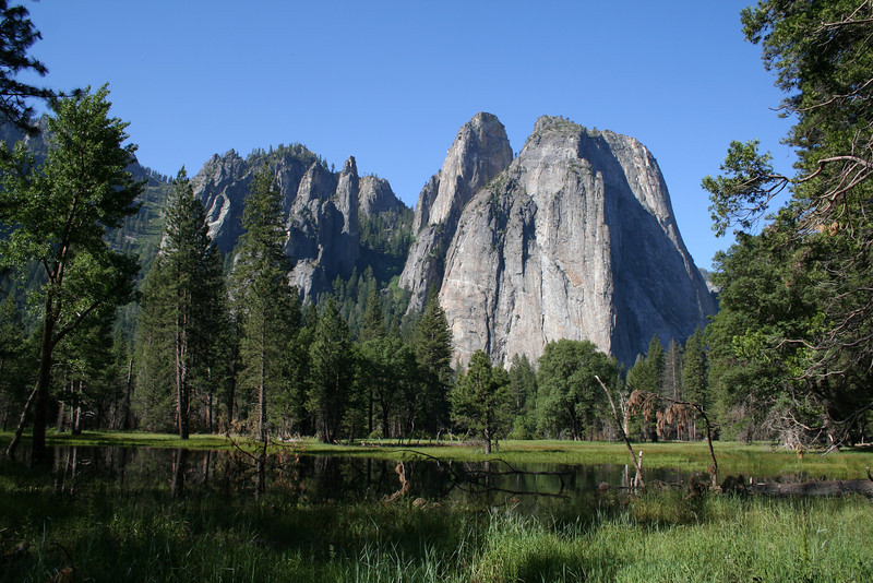 CATHEDRAL SPIRES IN YOSEMITE.