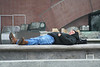I CAUGHT THIS FELLOW TAKING A NAP NEAR BATTERY PARK IN MANHATTAN.