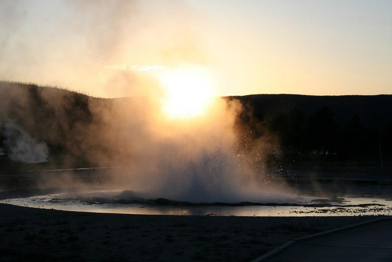 SUNSET THROUGH A YELLOWSTONE GEYSER
