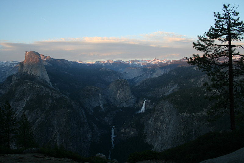 SUNSET AT GLACIER POINT IN YOSEMITE OVERLOOKING HALF DOME, NEVADA FALLS, & VERNAL FALLS