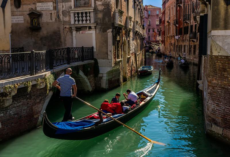 Gondolier and his Gondola; Venice