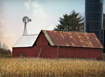 WEATHERED WOOD BARN WITH WINDMILL