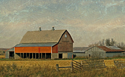 BARN IN COUNTRY WITH SIGN