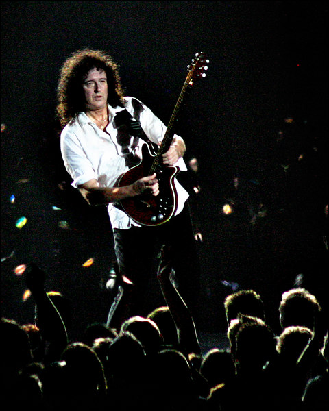 Brian May and Queen at Sheffield Arena - a black and white version won 3rd prize at Three Counties Photography Competition, Keele University 2007