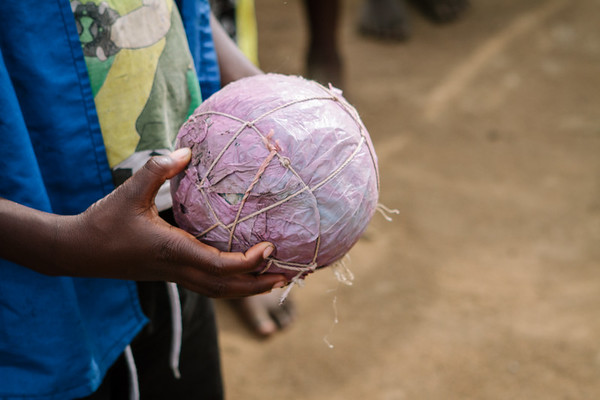 Handmade ball from trash and string.