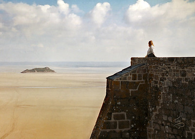 Mont-Saint-Michel 2002 - The Ramparts - View of Tomblaine