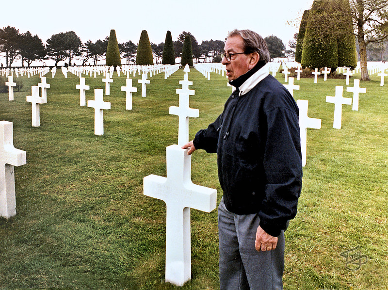 Colleville 2002 - Normandy American Cemetery - Dad visits the grave of a fallen comrade.
