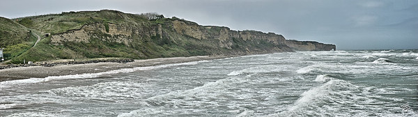 Omaha Beach -  panoramic view of the Pointe-du-Hoc Cliffs, as seen from Omaha Beach