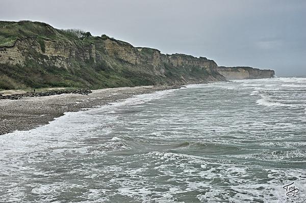 Omaha Beach -  Pointe-du-Hoc Cliffs, as seen from Omaha Beach