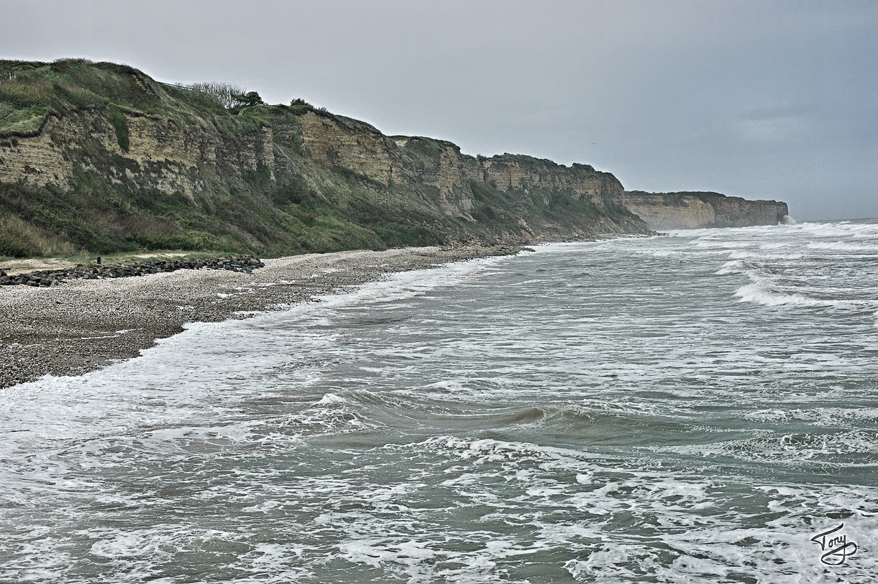 Omaha Beach -  Pointe-du-Hoc Cliffs, as seen from Omaha Beach