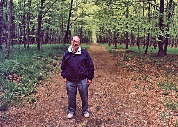 La Forêt de Cerisy 2002 - Dad revisits the site of some of his WWII battles.