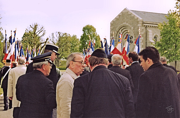 Brittany American Cemetery 2004 Memorial Day - Mustering for the Procession - The local French veterans and dignitaries are excited to have an American WWII veteran join them.
