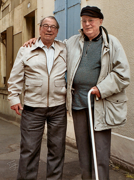 "Saint-Lo 2003 - Old Friends - Dad and Roger Casrouge - Roger was Dad's driver, and best friend, while he was stationed at Brittany Cemetery. <a title=""godaddy counter"" href=""http://statcounter.com/godaddy_website_tonight/"" target=""_blank""><img style=""display:none;"" src=""http://c.statcounter.com/2514080/0/73d54fdc/0/"" alt=""godaddy counter""></a>"