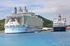 Oasis vs Maasdam... Godzilla meets Bambi  St Thomas Crown Bay docks Nov 9 2010.. enroute on over to St John on the ferry