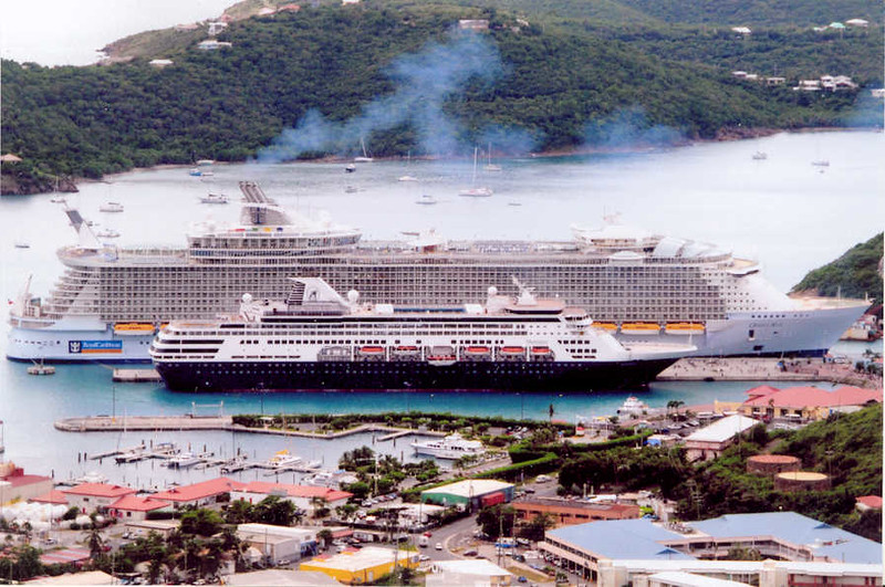 Rich Jeff's famous Maasdam vs Oasis pic he took from atop the hill overlooking Crown Bay