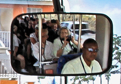 Cropped the bus pic... here we are in second row behind driver... Pat is in white cap..I'm snapping the pic