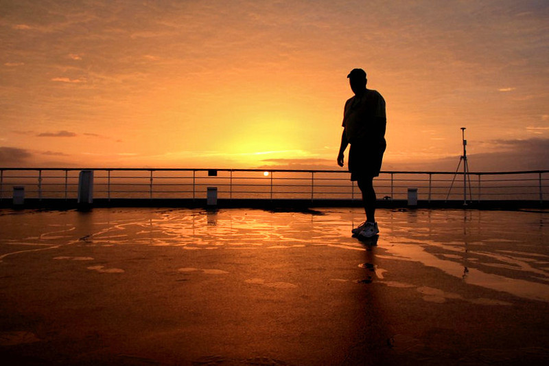up on the Sky Deck at Sunrise on the bow of the Maasdam on our approach to Arricife, Lanzarote, Canary islands.. had the timer on