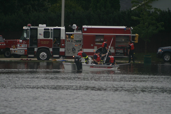 Arlington Heights Fire Department Divers Box For A Person In A Pond After Heavy Floods Missing