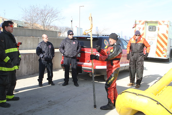 Chicago Fire Department Ice Dive Training 31st Street Beach