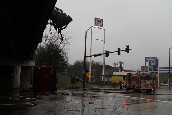 Chicago Fire Department Pin In Accident With Level 1 Haz-Mat  Northbound I -94 At Kimball