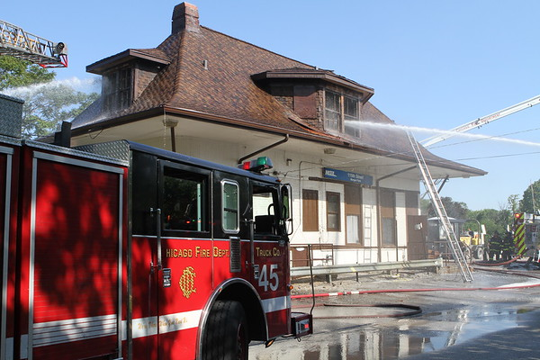 Chicago Fire Department Still & Box Alarm Fire  1952 W 115th St  Heavy Fire Thru The Roof Of The Train Station